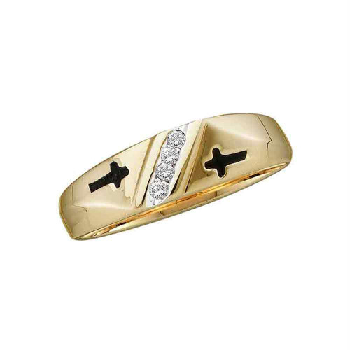 14kt Yellow Gold Mens Round Diamond Double Cross Wedding Band Ring 1/20 Cttw