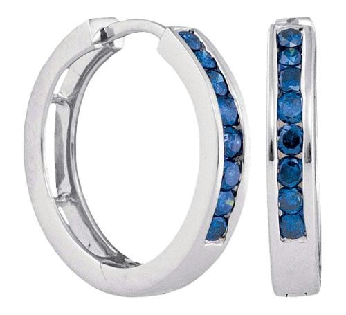 10kt White Gold Womens Round Blue Color Enhanced Diamond Hoop Earrings 1/2 Cttw - 90836