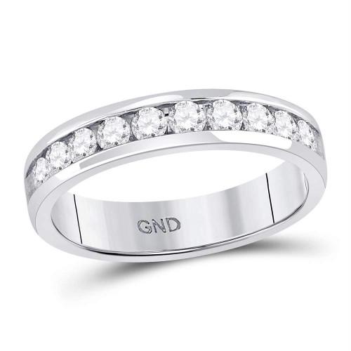 14kt White Gold Mens Round Diamond Single Row Comfort Wedding Band Ring 1.00 Cttw