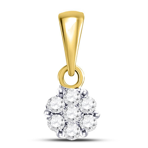 14kt Yellow Gold Womens Round Diamond Flower Cluster Pendant 1/10 Cttw