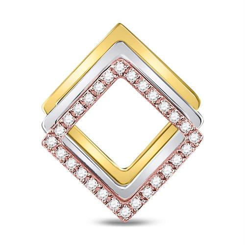 10kt Tri-Tone Gold Womens Round Diamond Diagonal Square Fashion Pendant 1/6 Cttw