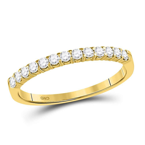 14kt Yellow Gold Womens Round Diamond Single Row Comfort Wedding Band 1/4 Cttw - 93043