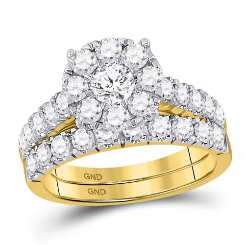 14kt Yellow Gold Womens Round Diamond Bridal Wedding Engagement Ring Band Set 2.00 Cttw - 93708