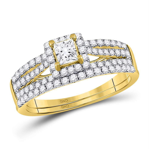 14kt Yellow Gold Womens Princess Diamond Bridal Wedding Engagement Ring Band Set 1.00 Cttw - 93826