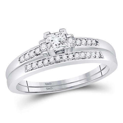 10kt White Gold Womens Princess Diamond Bridal Wedding Engagement Ring Band Set 1/3 Cttw - 107520