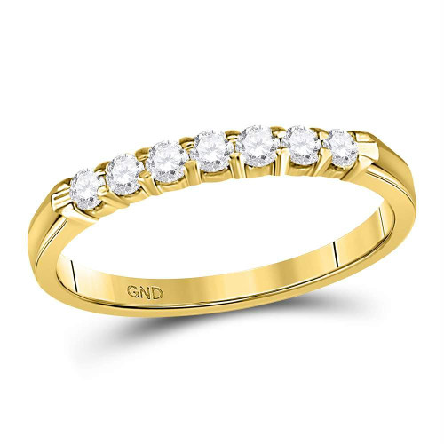 14kt Yellow Gold Womens Round Diamond Single Row Comfort Wedding Band 1/4 Cttw - 102057