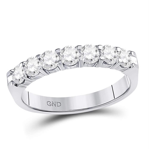 14kt White Gold Womens Round Diamond Single Row Comfort Wedding Band 3/4 Cttw