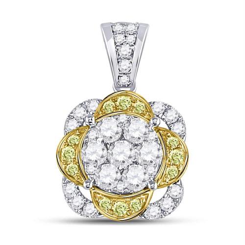 14kt White Gold Womens Round Yellow Diamond Flower Cluster Pendant 1.00 Cttw