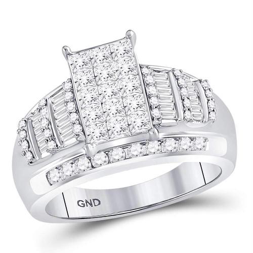 10kt White Gold Womens Princess Diamond Cluster Bridal Wedding Engagement Ring 1-1/2 Cttw