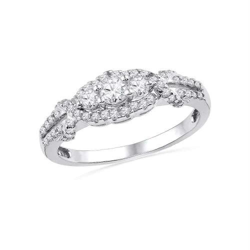 10kt White Gold Womens Round Diamond 3-stone Bridal Wedding Engagement Ring 1/2 Cttw