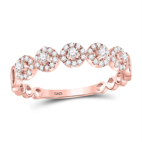 10kt Rose Gold Womens Round Diamond Circle Dot Stackable Ring 1/4 Cttw