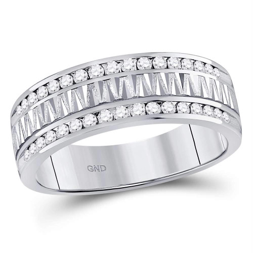 14kt White Gold Mens Round Diamond Double Row Zigzag Wedding Band Ring 1/2 Cttw
