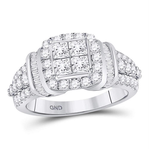 10kt White Gold Womens Princess Diamond Square Frame Cluster Ring 1-3/4 Cttw