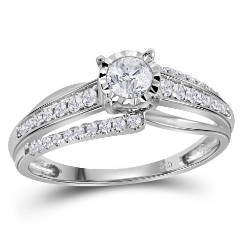 14kt White Gold Womens Round Diamond Solitaire Bridal Wedding Engagement Ring 1/2 Cttw - 113623