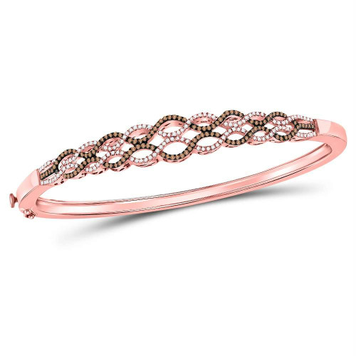 10kt Rose Gold Womens Round Brown Color Enhanced Diamond Braided Bangle Bracelet 5/8 Cttw