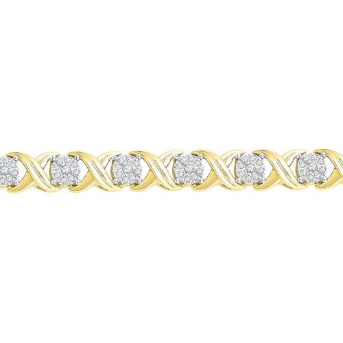 10kt Yellow Gold Womens Round Diamond X Link Fashion Bracelet 1.00 Cttw