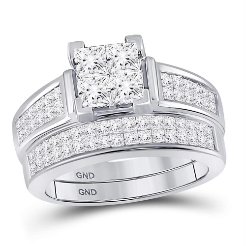 14kt White Gold Womens Princess Diamond Bridal Wedding Engagement Ring Band Set 2.00 Cttw - 94263
