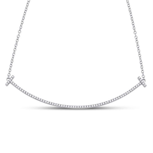 10kt White Gold Womens Round Diamond Curved Bar Necklace 1/3 Cttw