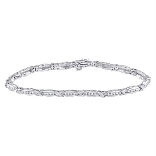 10kt White Gold Womens Round Diamond X Link Fashion Bracelet 1/2 Cttw
