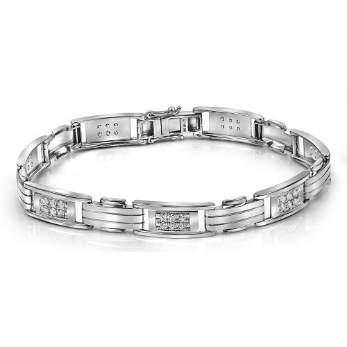 10kt White Gold Mens Round Diamond Rectangle Link Fashion Bracelet 1.00 Cttw
