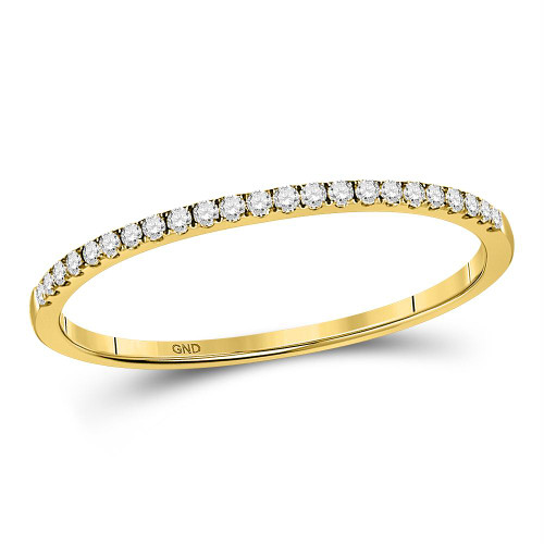 10kt Yellow Gold Womens Round Diamond Slender Single Row Stackable Band Ring 1/8 Cttw