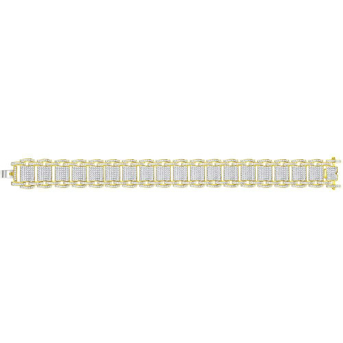 10kt Yellow Gold Mens Round Diamond Big Look Statement Link Bracelet 4-5/8 Cttw
