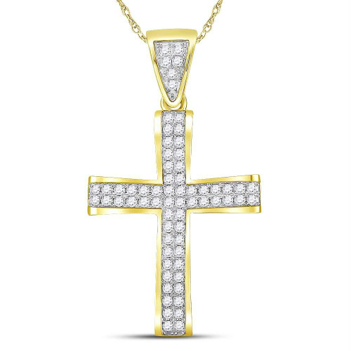 10kt Yellow Gold Mens Round Diamond Roman Cross Charm Pendant 1.00 Cttw - 117392