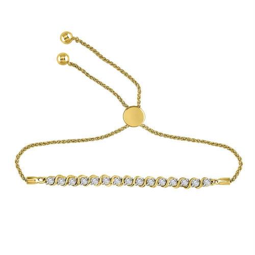 10kt Yellow Gold Womens Round Diamond Tennis Bolo Bracelet 1/5 Cttw