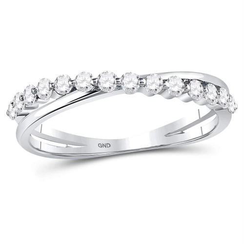 10kt White Gold Womens Round Diamond Single Row Crossover Stackable Band Ring 1/3 Cttw