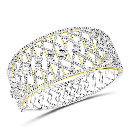 14kt Two-tone Gold Womens Round Baguette Diamond Zigzag Bangle Bracelet 4-1/2 Cttw