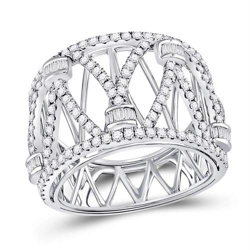 14kt White Gold Womens Round Diamond Crisscross Strand Fashion Ring 1-1/10 Cttw
