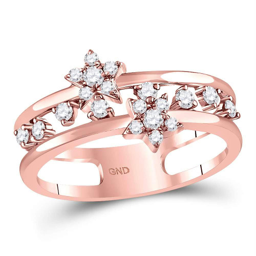 14kt Rose Gold Womens Round Diamond Open Double Star Band Ring 1/3 Cttw