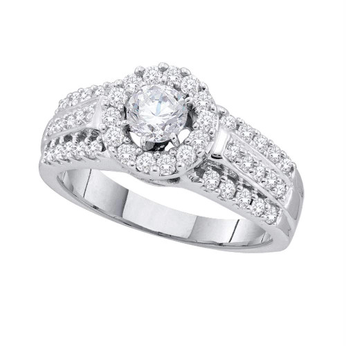 14kt White Gold Womens Round Diamond Solitaire Bridal Wedding Engagement Ring 1.00 Cttw - 44449