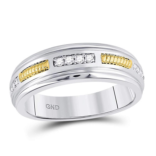 10kt Two-tone Gold Mens Round Diamond Wedding Band Ring 1/5 Cttw