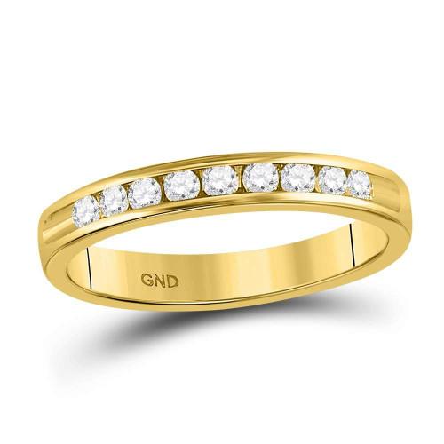 14kt Yellow Gold Womens Round Diamond Single Row Wedding Band 1/4 Cttw
