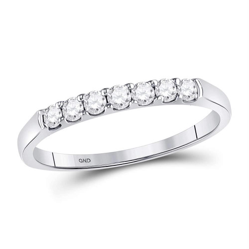 14kt White Gold Womens Round Diamond Single Row Wedding Band 1/4 Cttw - 106224