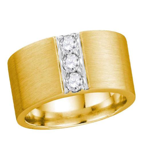 14kt Yellow Gold Mens Round Diamond 3-stone Matte Wedding Band 1/2 Cttw