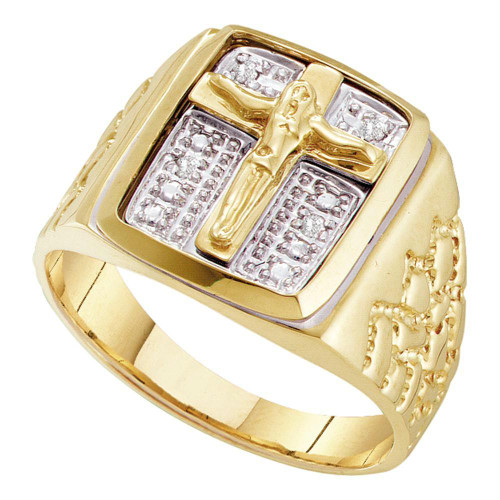 10kt Yellow Gold Mens Round Diamond Crucifix Jesus Cross Ring 1/20 Cttw