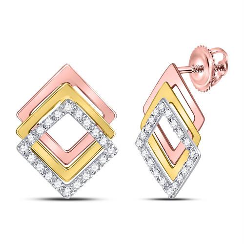 10kt Tri-Tone Gold Womens Round Diamond Diagonal Square Stud Earrings 1/6 Cttw