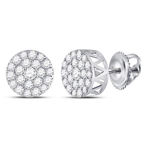 14kt White Gold Womens Round Diamond Circle Frame Cluster Earrings 1.00 Cttw