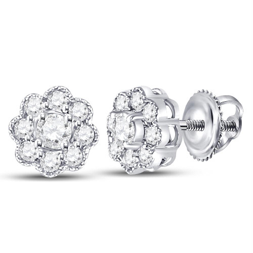 14kt White Gold Womens Round Diamond Flower Solitaire Stud Earrings 1/4 Cttw