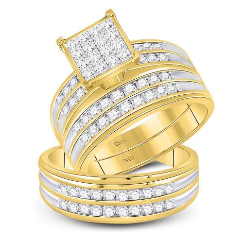 14kt Yellow Gold His & Hers Princess Diamond Cluster Matching Bridal Wedding Ring Band Set 1-1/2 Cttw