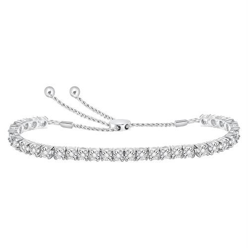 10kt White Gold Womens Round Diamond Studded Bolo Bracelet 1/2 Cttw