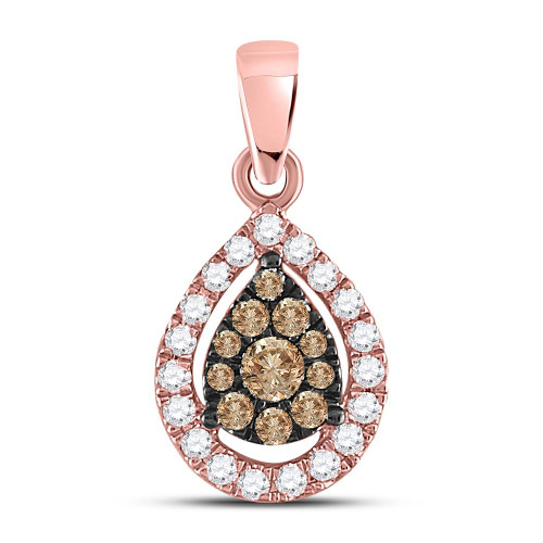 14kt Rose Gold Womens Round Brown Color Enhanced Diamond Teardrop Cluster Pendant 1/3 Cttw