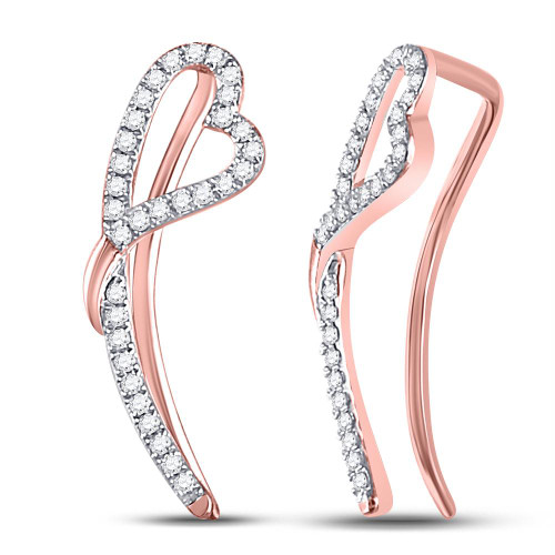 10kt Rose Gold Womens Round Diamond Heart Climber Earrings 1/5 Cttw