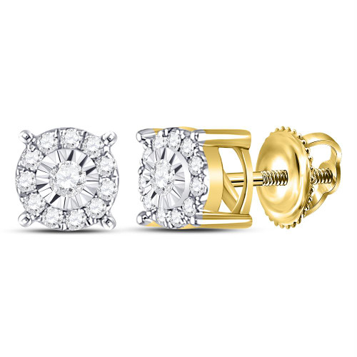 10kt Yellow Gold Womens Round Diamond Circle Frame Solitaire Stud Earrings 1/5 Cttw