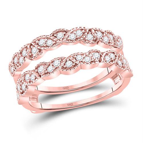 14kt Rose Gold Womens Round Diamond Milgrain Ring Guard Enhancer Wedding Band 1/3 Cttw