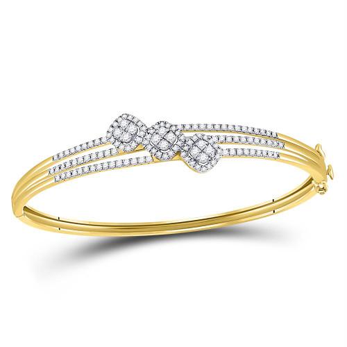 14kt Yellow Gold Womens Round Diamond Triple Cluster Bangle Bracelet 1-1/4 Cttw