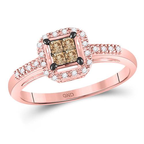 10kt Rose Gold Womens Princess Brown Color Enhanced Diamond Fashion Ring 1/4 Cttw