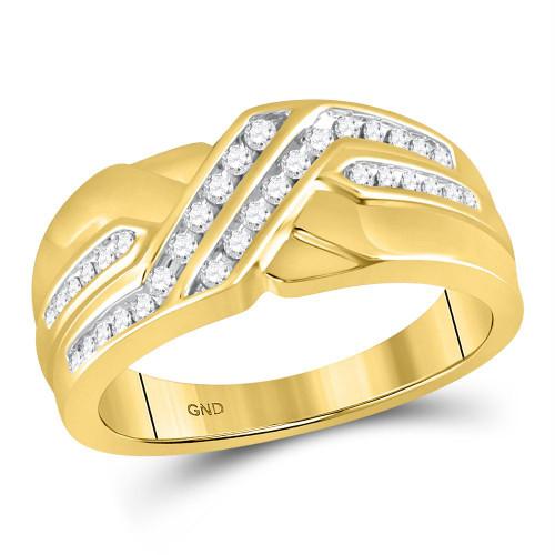 10kt Yellow Gold Mens Round Diamond Diagonal Double Row Band Ring 1/4 Cttw